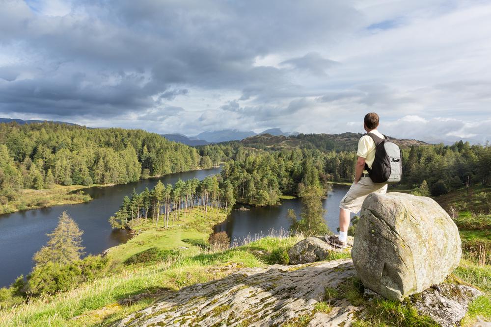 Man overlooking lake
